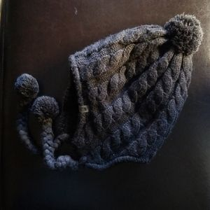 The North Face Earflap Beanie Knit hat pom pon